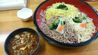 のりちゃん かもの赤つけめん(三種盛り)中華細麺@東部市場